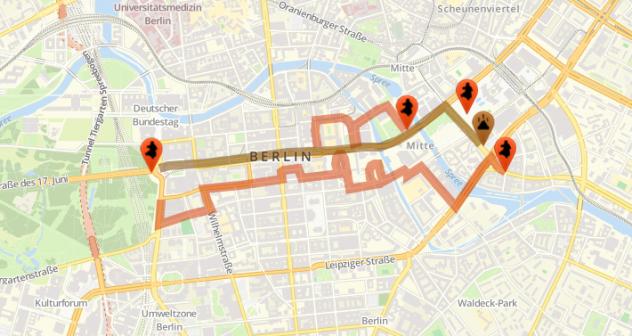 Marschrouten der Antifaschisten (orange) und der Rassisten (braun) in Berlin. Grafik: Berlin gegen Nazis